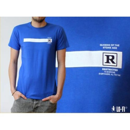 QUEENS OF THE STONE AGE MENS BLUE TSHIRT - RATED R