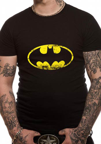 BATMAN MENS BLACK TSHIRT - DISTRESSED LOGO