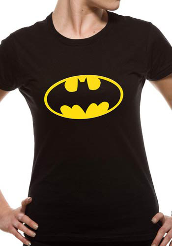 BATMAN LADIES BLACK FITTED TSHIRT - LOGO