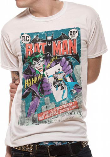 BATMAN MENS WHITE TSHIRT - JOKER COMIC