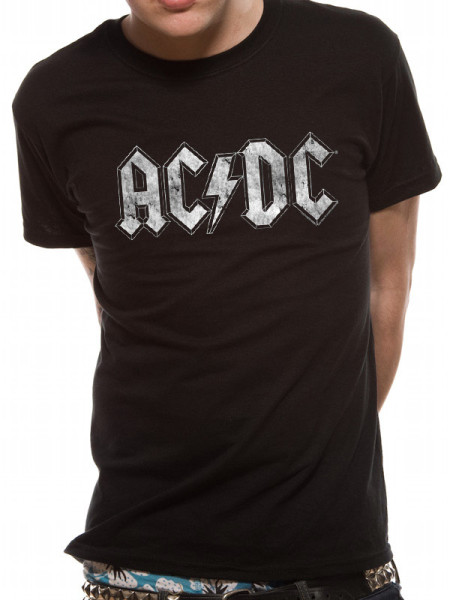 AC/DC MENS BLACK T-SHIRT - WHITE DISTRESSED LOGO