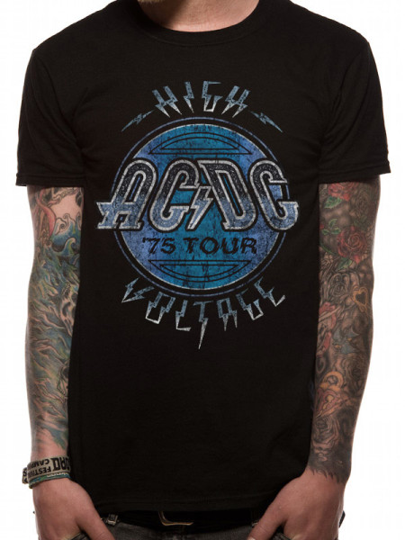 AC/DC MENS BLACK T-SHIRT - HIGH VOLTAGE