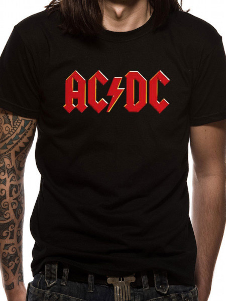 AC/DC MENS BLACK T-SHIRT - RED LOGO
