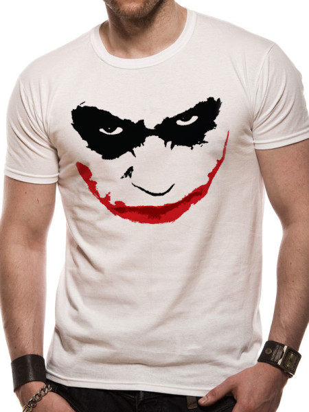 BATMAN MENS WHITE TSHIRT - THE DARK KNIGHT JOKER SMILE OUTLINE