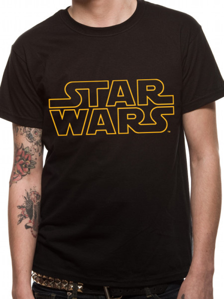 STAR WARS MENS BLACK TSHIRT - LOGO WITH GOLD OUTLINE