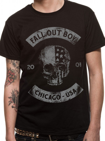 FALL OUT BOY MENS T-SHIRT - CHICAGO SKULL