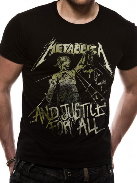 METALLICA MENS T-SHIRT - AND JUSTICE FOR ALL VINTAGE