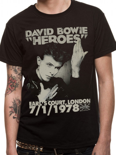 DAVID BOWIE MENS T-SHIRT - HEROES EARLS COURT
