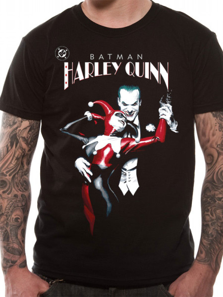 BATMAN MENS BLACK TSHIRT - HARLEY QUINN JOKER