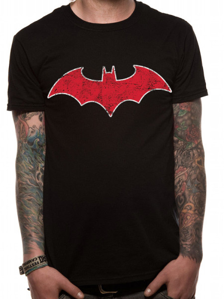 BATMAN MENS BLACK T-SHIRT - RED BAT
