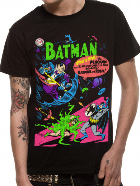 BATMAN MENS BLACK T-SHIRT - PENGUIN COMIC