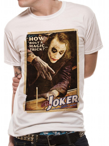 BATMAN MENS WHITE TSHIRT - DARK KNIGHT JOKER POSTER