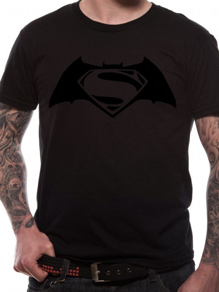 BATMAN V'S SUPERMAN MENS BLACK T-SHIRT - BLACK LOGO