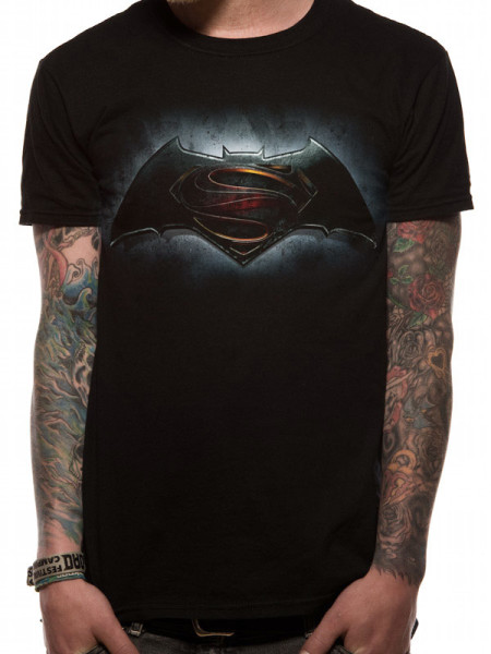 BATMAN V'S SUPERMAN MENS BLACK T-SHIRT - LOGO