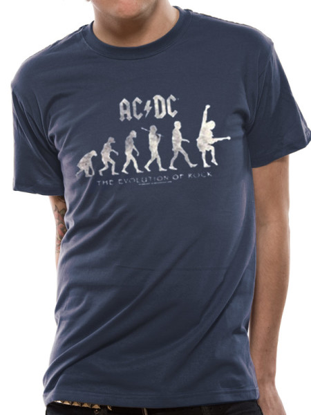 AC/DC MENS BLUE T-SHIRT - EVOLUTION OF ROCK