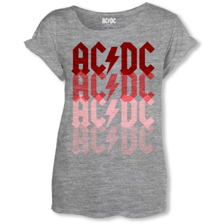 AC/DC LADIES GREY T-SHIRT - LOGO FADE