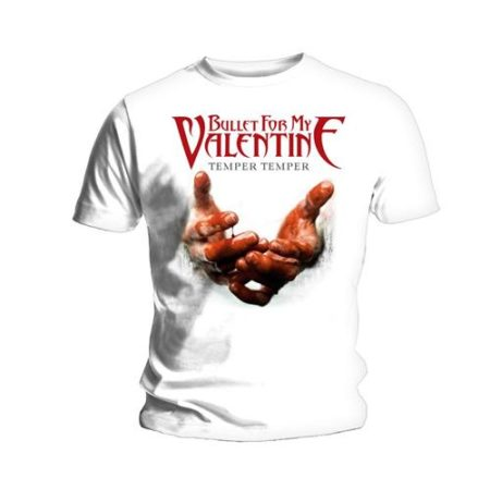 BULLET FOR MY VALENTINE MENS TSHIRT - TEMPER TEMPER BLOOD HANDS