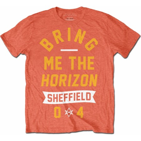 BRING ME THE HORIZON MENS ORANGE TSHIRT - BIG TEXT