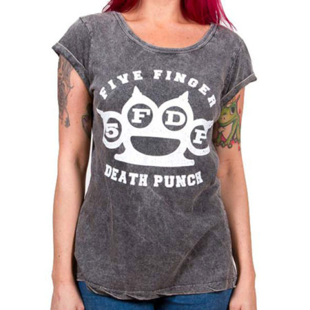 FIVE FINGER DEATH PUNCH LADIES TSHIRT - KNUCKLEDUSTER ACID WASH