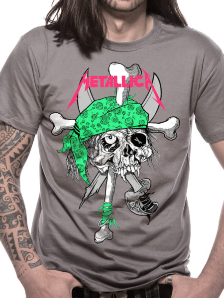 METALLICA MENS GREY T-SHIRT - METAL PIRATE