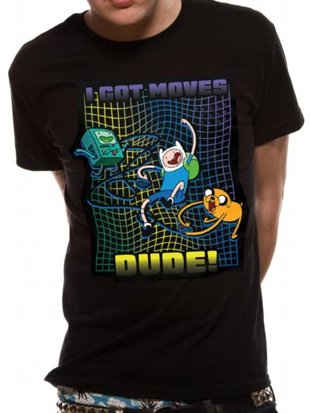 ADVENTURE TIME MENS BLACK TSHIRT - I GOT MOVES