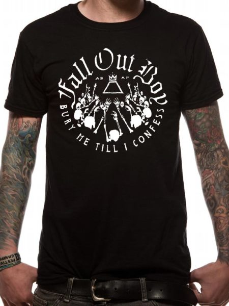 FALL OUT BOY MENS BLACK T-SHIRT - SKELETONS