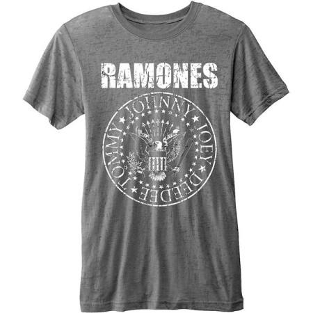 RAMONES MENS T-SHIRT - PRESIDENTIAL SEAL BURNOUT