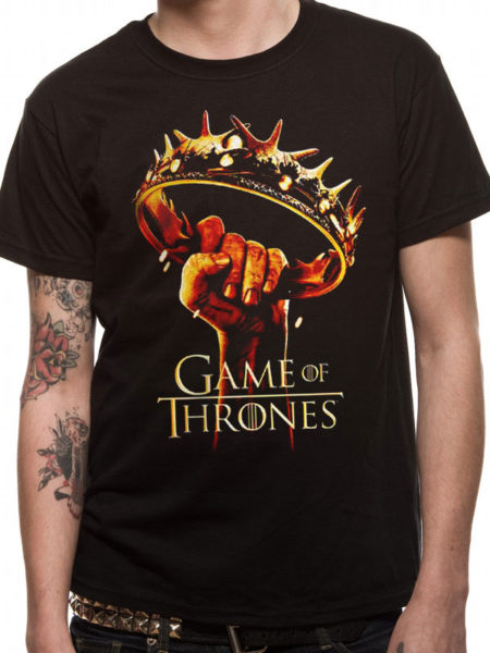 GAME OF THRONES MENS BLACK TSHIRT - CROWN LOGO