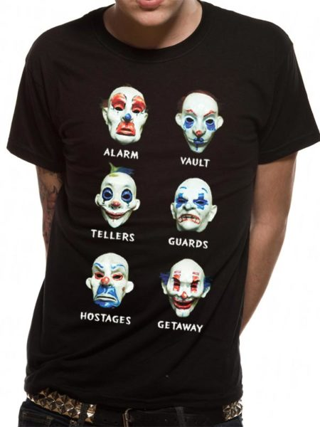 BATMAN THE DARK KNIGHT MENS BLACK TSHIRT - MASKS