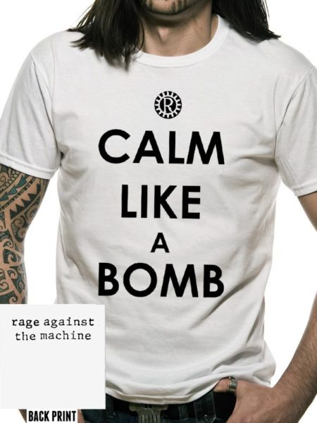 RAGE AGAINST THE MACHINE MENS WHITE T-SHIRT - CALM LIKE A BOMB